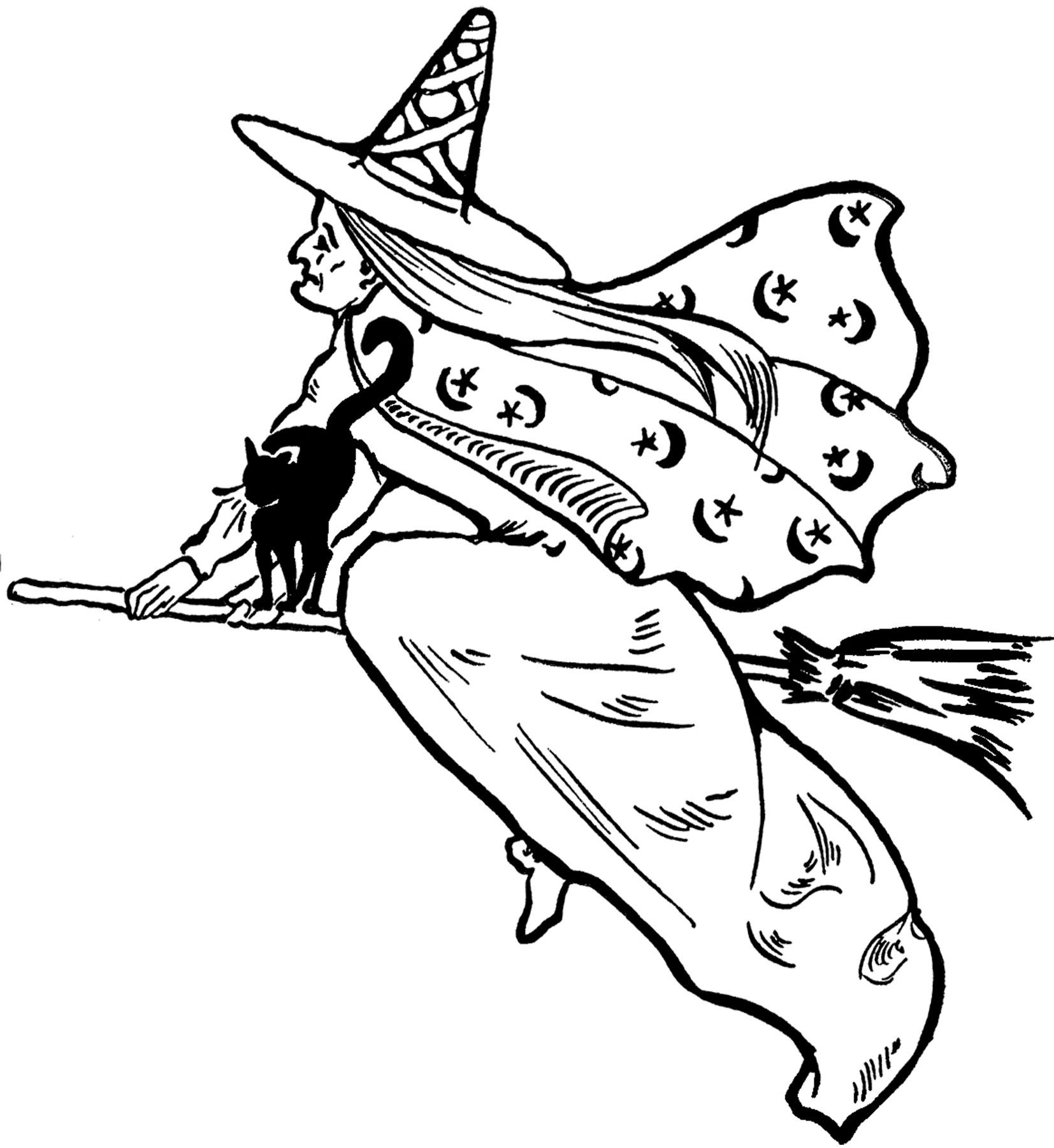 Witch graphics clipart graphic black and white library Free Flying Witch Clip Art!   Victorian Graphic Images ... graphic black and white library