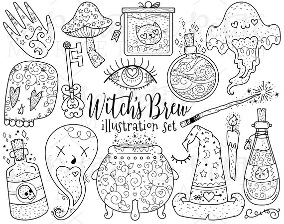 Witch craft clipart picture stock Witch\'s Brew Clipart Illustration Set, Magic Witchcraft Clip ... picture stock