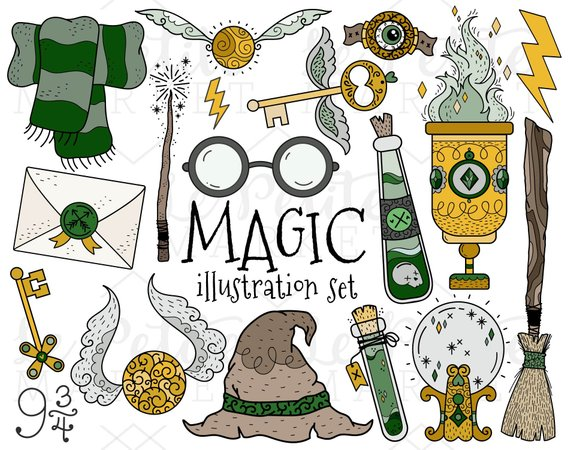 Witch craft clipart svg freeuse stock Wizard School Clipart Set, House Colors Magician Witch ... svg freeuse stock