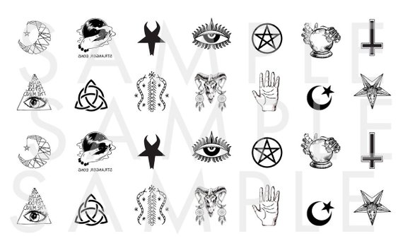 Witch fingernail clipart jpg black and white stock Occult Nail Decals / Symbols Nail Decal / Witch Nail Decal ... jpg black and white stock