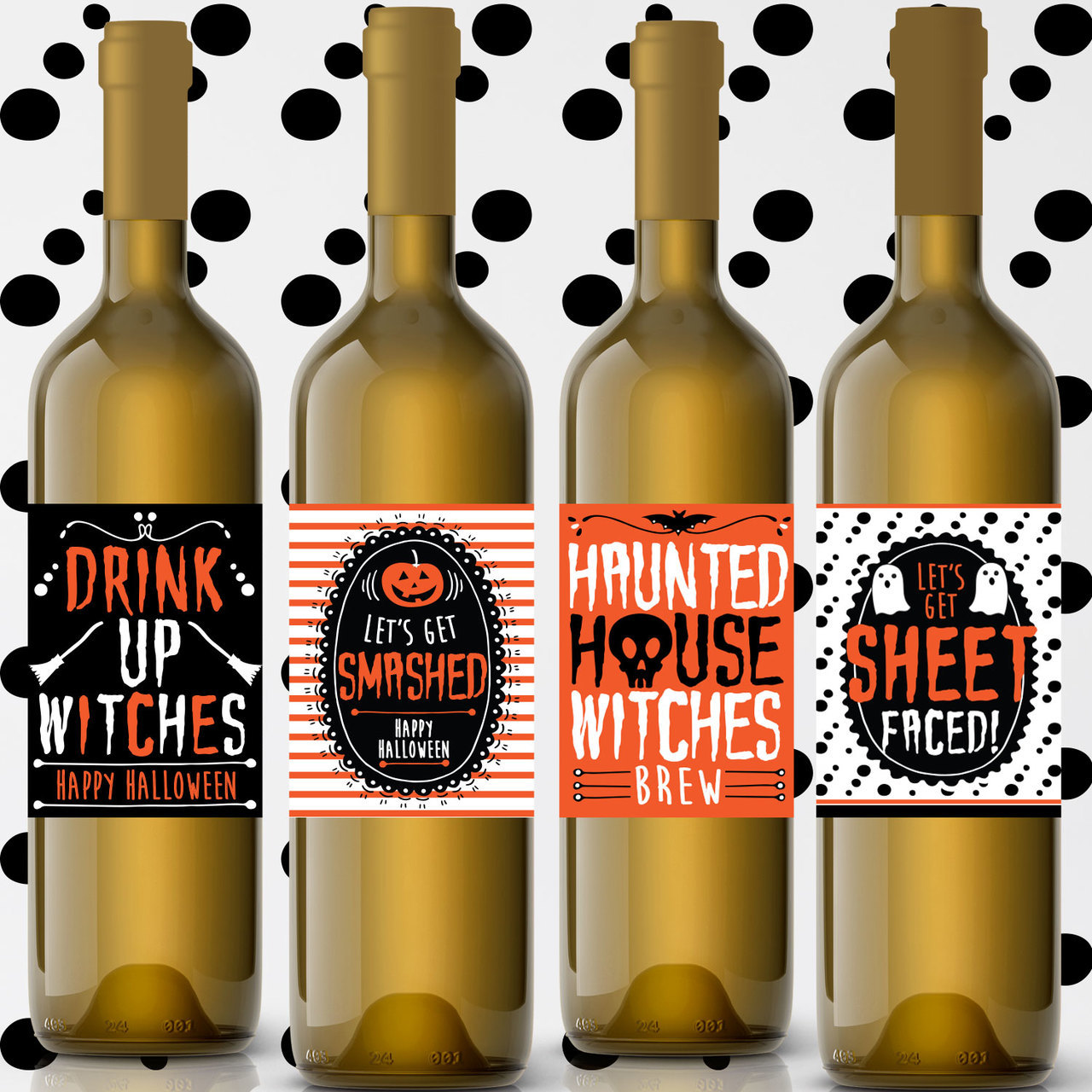Witch ghost alcohol clipart svg freeuse download Printable Drink Up Witches Halloween Wine Labels (Instant Download) svg freeuse download