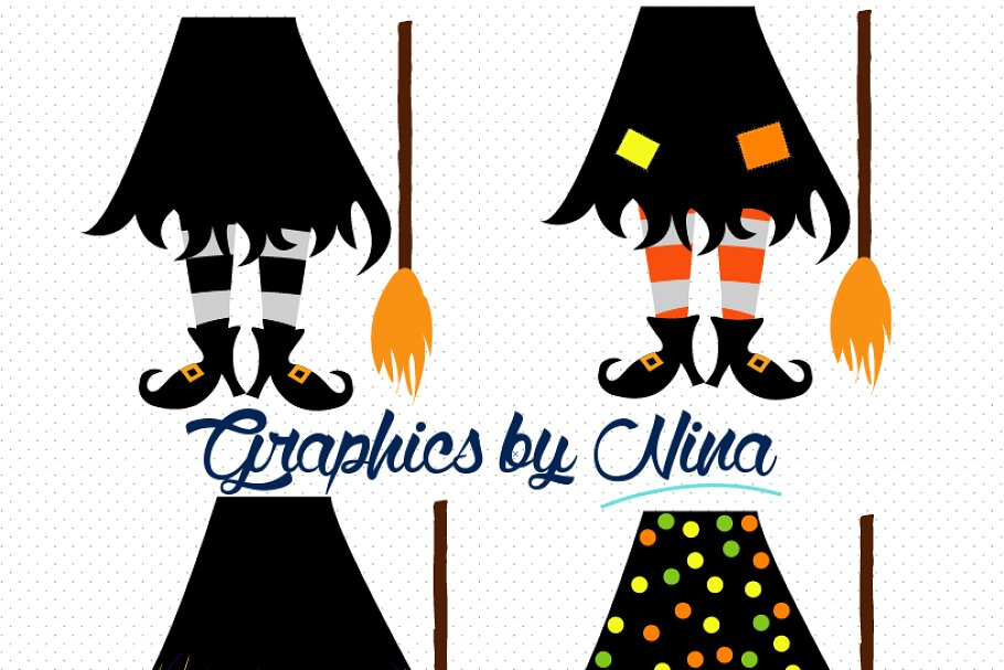 Witch graphics clipart vector black and white stock Witch Feet Clipart/Illustration vector black and white stock