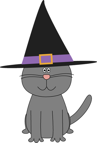 Witch hat clipart cat clipart black and white library Cute Halloween Witch Clip Art | Halloween Cat Clip Art ... clipart black and white library