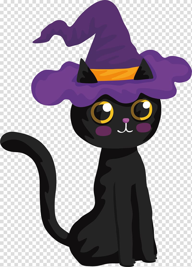 Witch hat clipart cat picture free Black cat with purple witch hat , Black cat Halloween Witch ... picture free