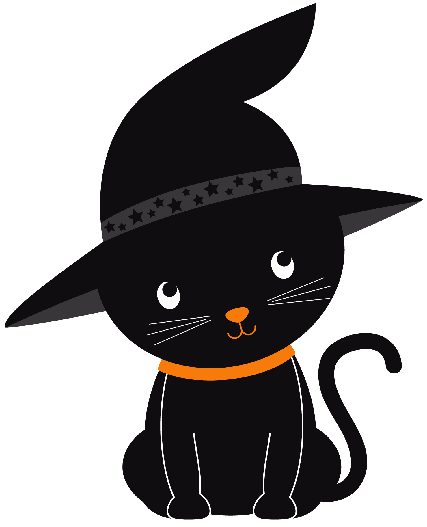 Witch hat clipart cat graphic black and white download Witch hat,Black cat,Cartoon,Hat,Costume hat,Headgear,Cat ... graphic black and white download