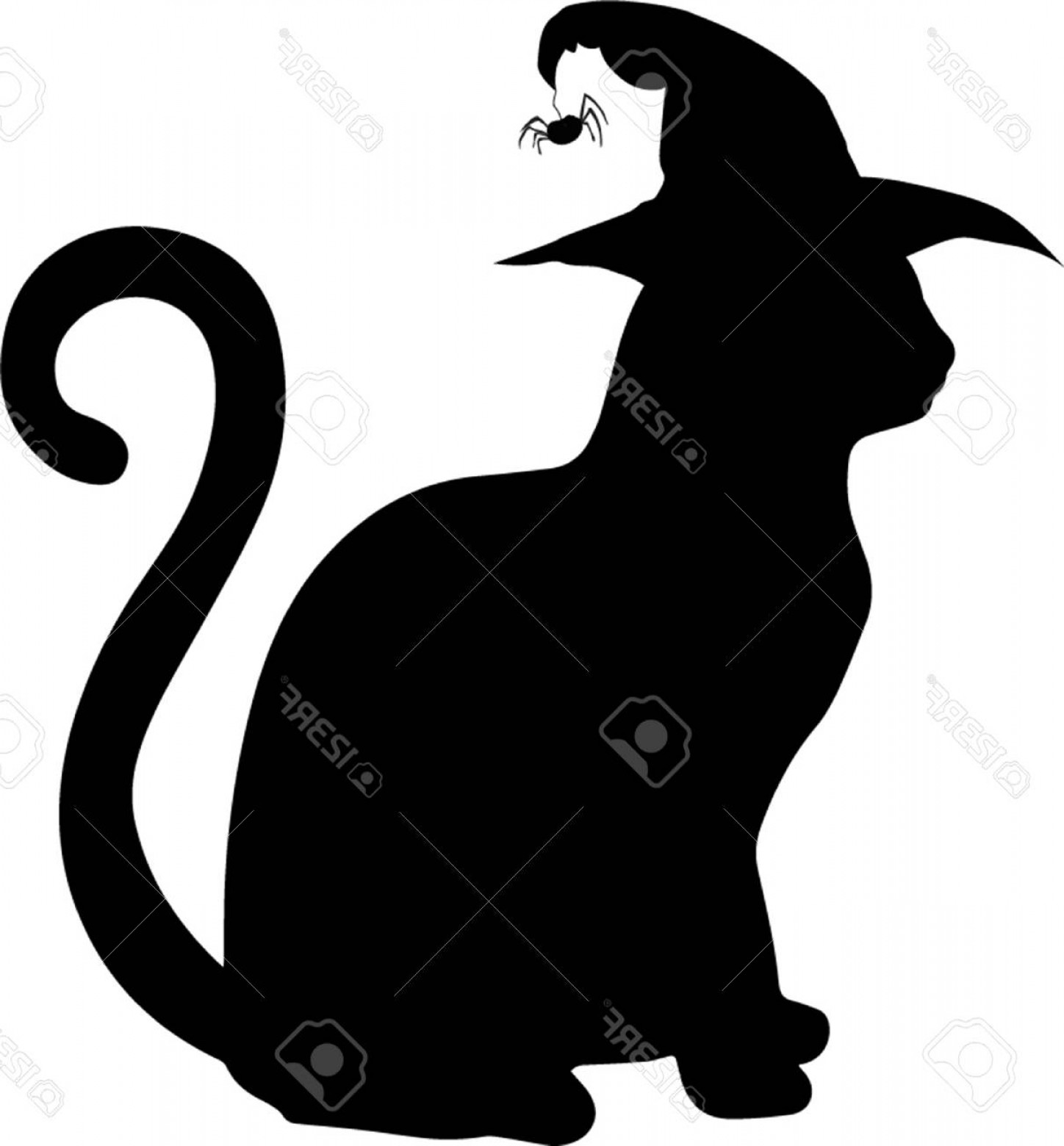 Witch hat clipart cat clip free stock Photostock Vector Black Silhouette Of Cat In Witch Hat ... clip free stock