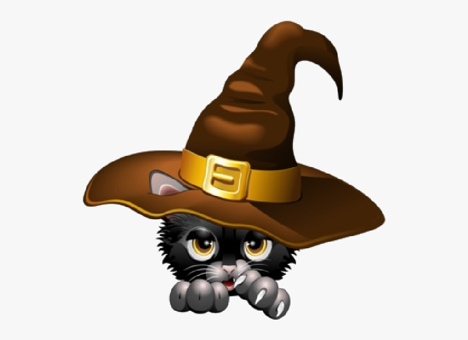Witch hat clipart cat graphic free library Halloween Black Cat Clipart - Halloween Witch Hat Gif ... graphic free library