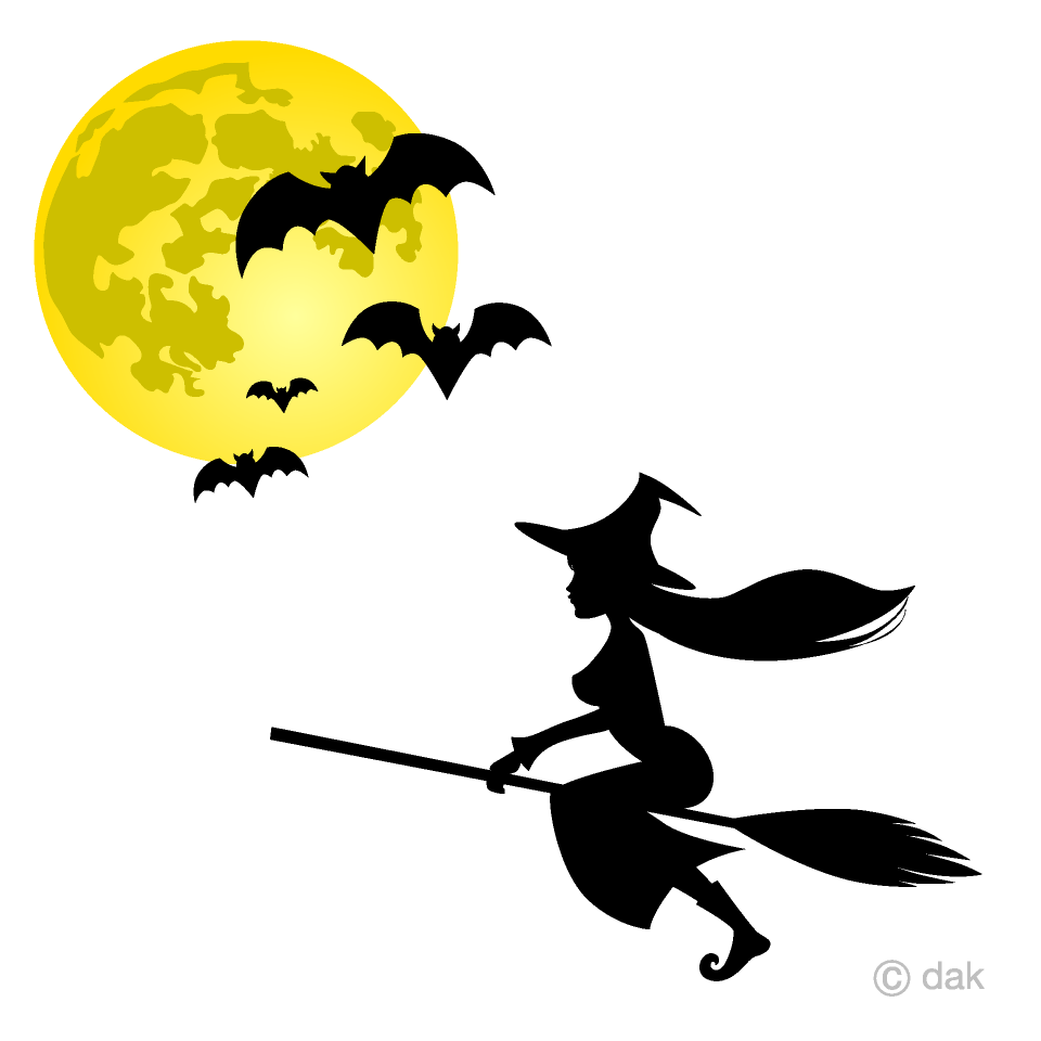 Witch in moon clipart clipart free stock Flying Witch and Bats Clipart Free Picture|Illustoon clipart free stock
