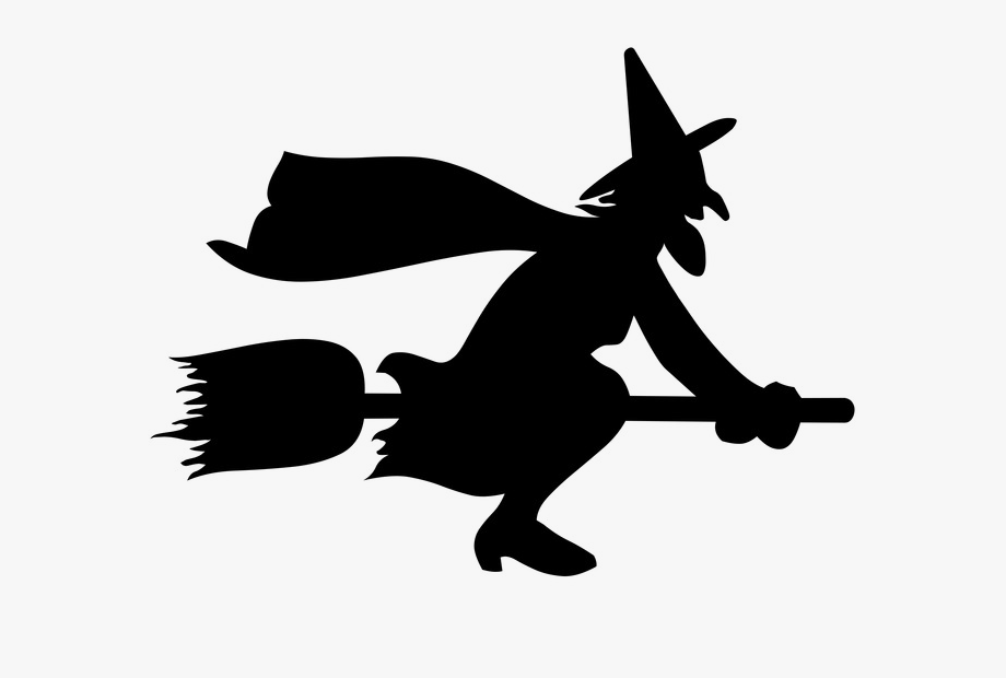Witch in moon clipart banner black and white library Download Png - Halloween Moon With Witch #516581 - Free ... banner black and white library