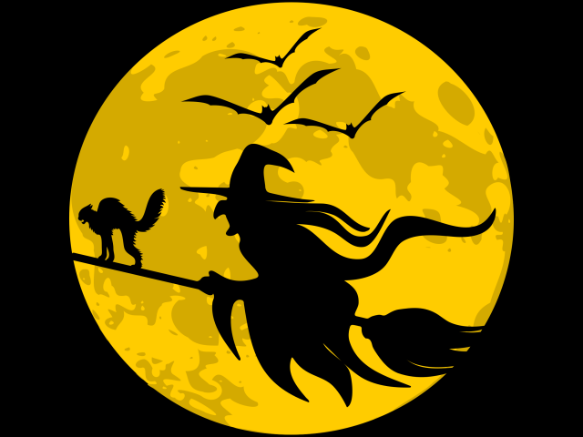 Witch in moon clipart image black and white Free Witch Clipart, Download Free Clip Art on Owips.com image black and white