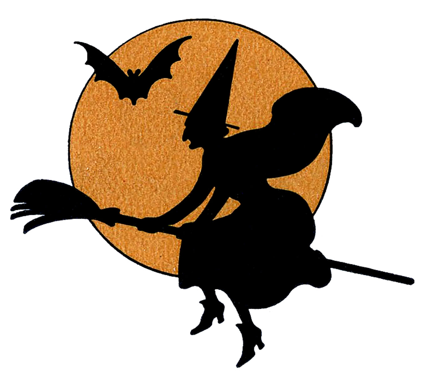 Witch in moon clipart clip art Vintage Halloween Clip Art - Witch with Moon - The Graphics ... clip art