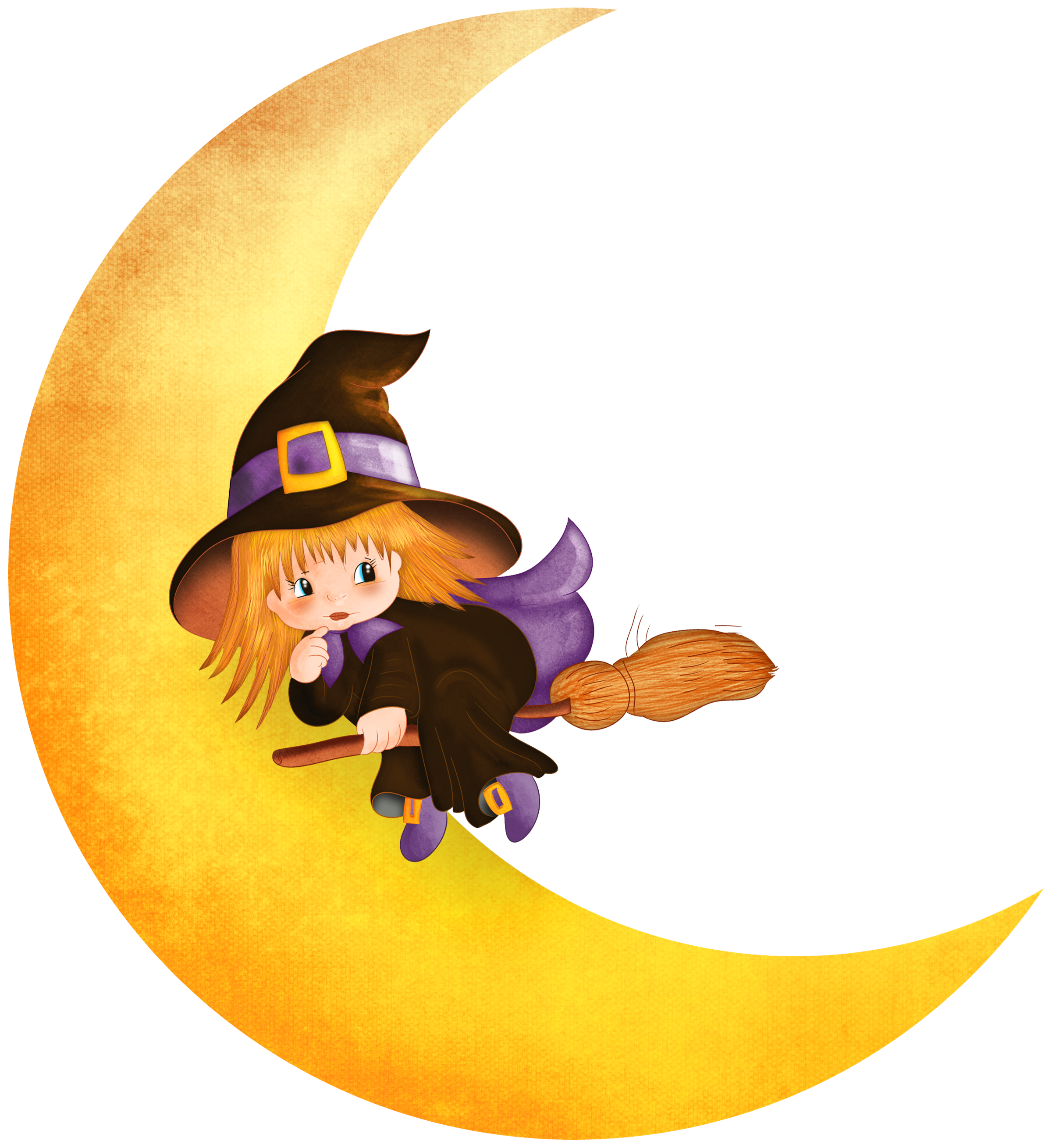 Witch moon clipart free image transparent stock Halloween Witch on the Moon PNG Clipart | Gallery ... image transparent stock