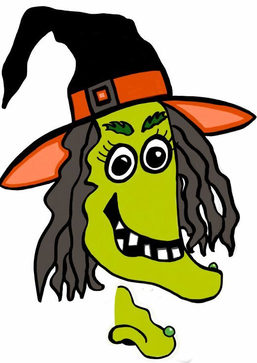 Witch shriek clipart picture Printable Halloween game - pin the nose on the witch ... picture