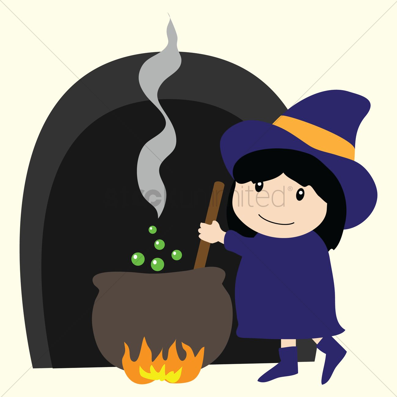 Witch stirring pot clipart clip freeuse Free A cute girl witch stirring the cauldron Vector Image ... clip freeuse