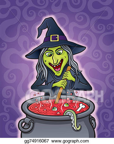 Witch stirring pot clipart transparent Stock Illustration - Wicked witch stirring cauldron. Clipart ... transparent
