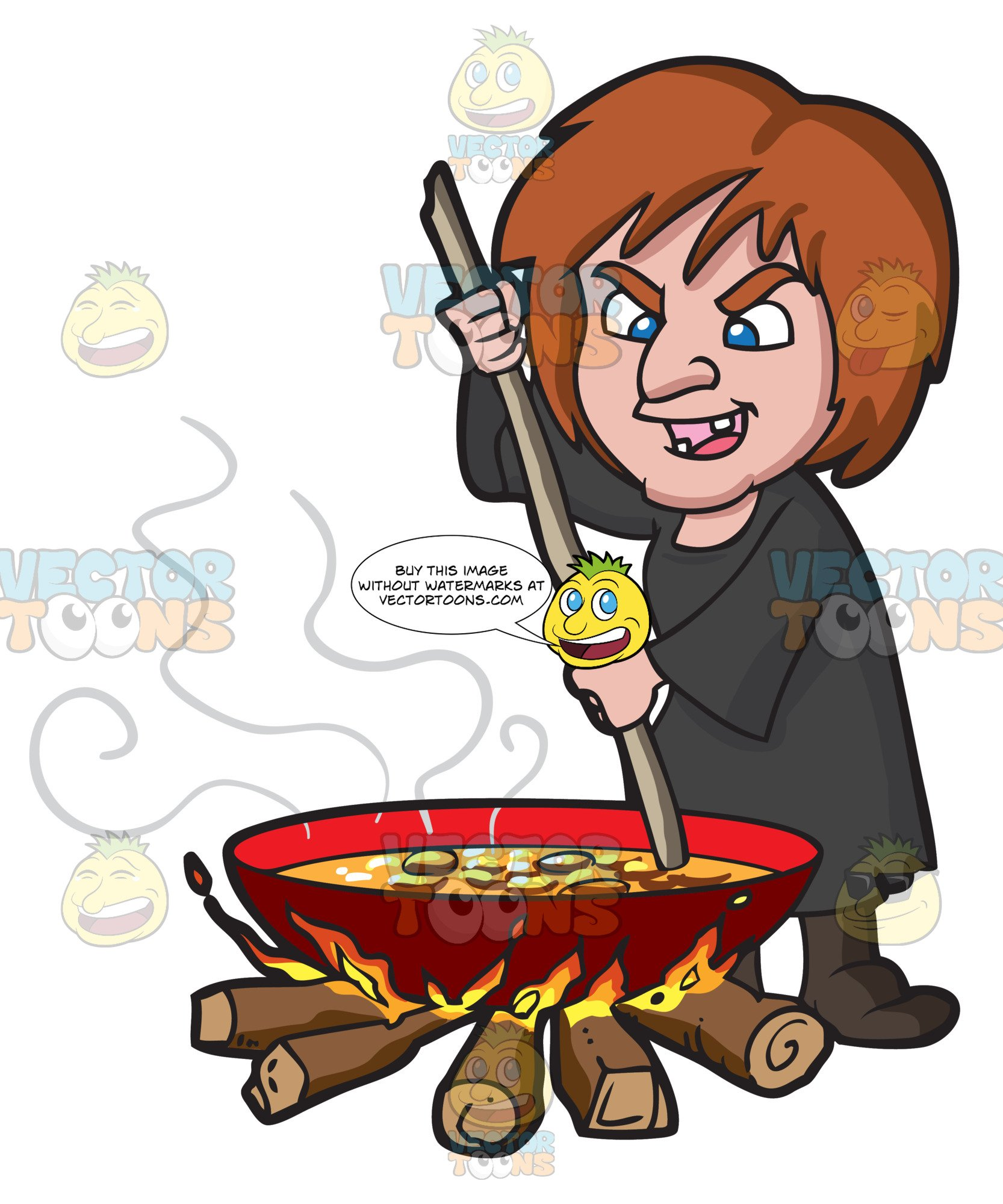Witch stirring pot clipart png transparent stock A Witch Stirring A Mixture In A Big Pot Over The Fire png transparent stock