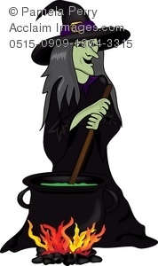 Witch stirring pot clipart graphic freeuse library Clip Art Illustration of a Witch Stirring Her Cauldron graphic freeuse library