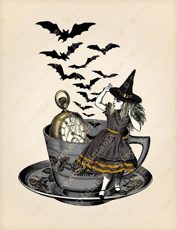 Witch tea cup clipart png royalty free Alice in Wonderland Halloween Digital Graphics Tea Party ... png royalty free