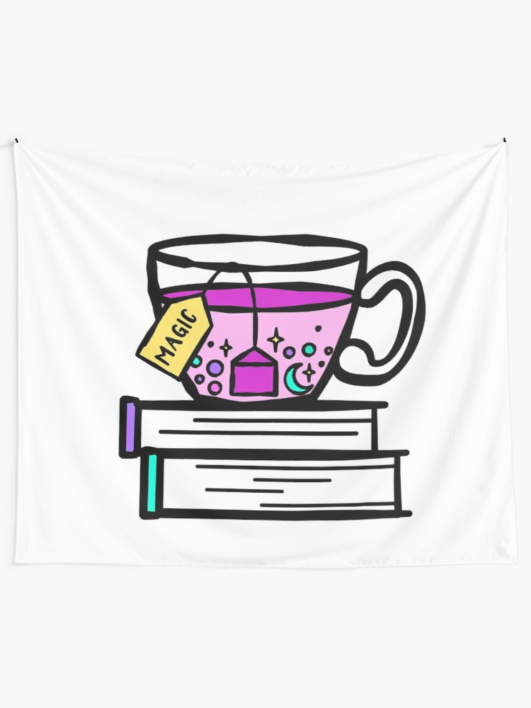Witch tea cup clipart graphic freeuse download Tea and Books are Magic. Magical Tea. Witch Wizard Brew.   Wall Tapestry graphic freeuse download