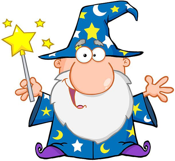 Wize wizard clipart clip art transparent library Funny Wizard Waving With Magic Wand | Halloween ClipArt in ... clip art transparent library