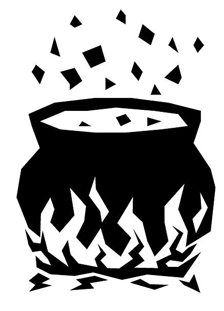Witches brew pot clipart clipart black and white download Amazon.com: Newclew Witch brewing potion pot Halloween Wall ... clipart black and white download