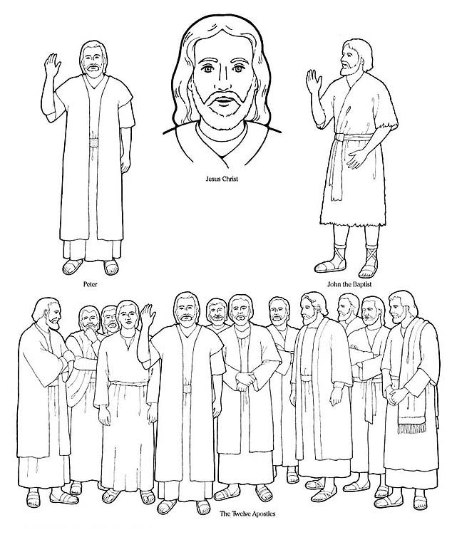 Lds clipart black and white jesus and the twelve disciples jpg free download Special Witnesses lds.org flannel-board figures | junior ... jpg free download