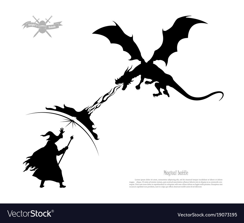 Wizard staff silhouette clipart jpg library download Black silhouette of battle of wizard with dragon jpg library download