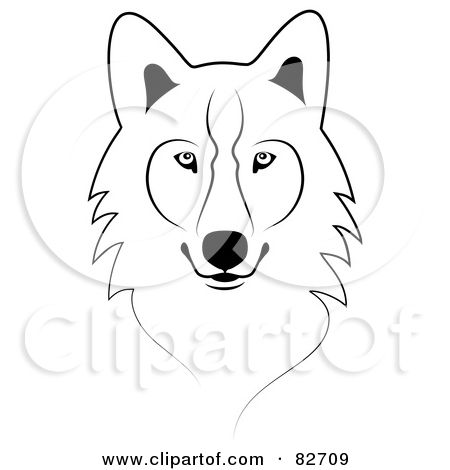 Wolf head outline clipart black and white Pinterest black and white