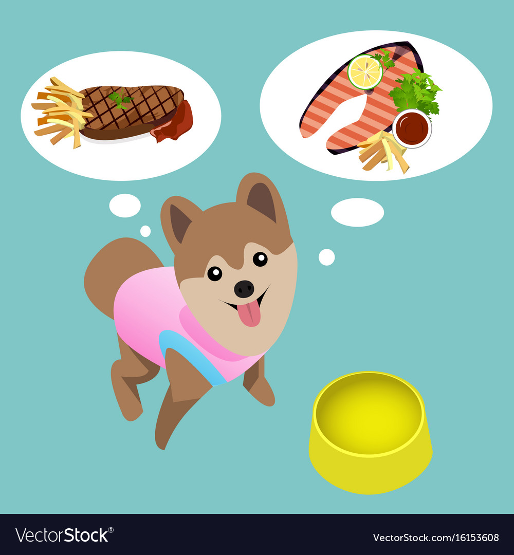 Wolf eating steak clipart graphic library library Pomeranian dog with empty bowl want to eat steak graphic library library