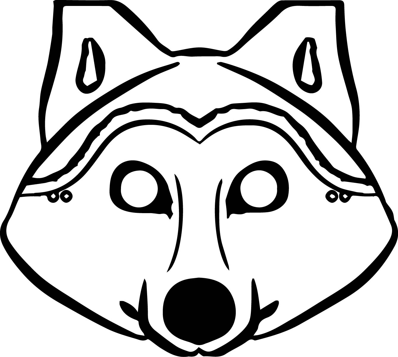 Wolf face mask clipart clip black and white library Wolf Coloring Pages | Free download best Wolf Coloring Pages ... clip black and white library