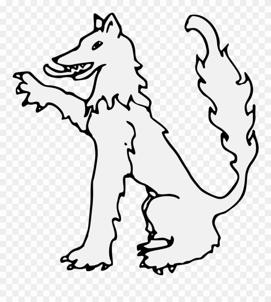 Wolf in the pot clipart banner library Wolf Sejant Dexter Paw Raised Traceable Heraldic Art - Line ... banner library
