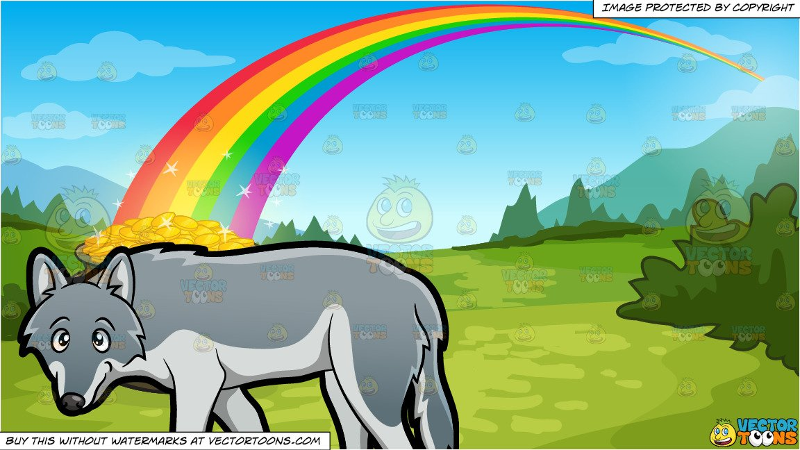 Wolf in the pot clipart clipart free stock A Wolf and Pot Of Gold At The End Of The Rainbow Background clipart free stock