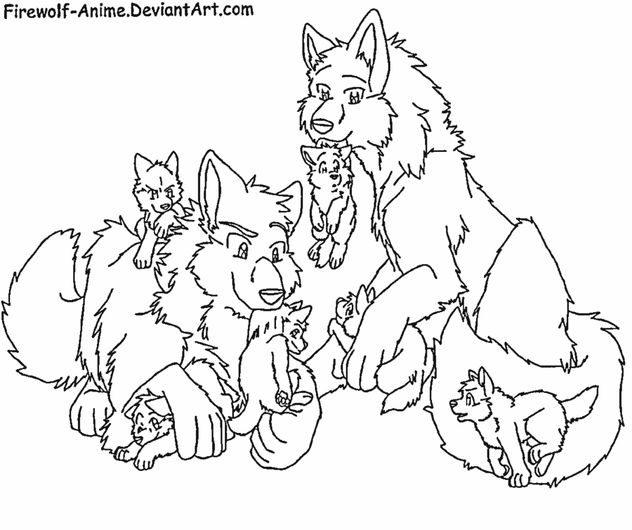 Wolves familys clipart png black and white stock Wolf Family Drawing at PaintingValley.com | Explore ... png black and white stock