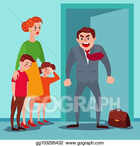 Woman an man yelling clipart banner free download Vector Stock - Furious father yelling at his wife and kids ... banner free download