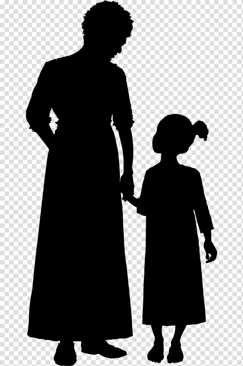 Woman and child clipart banner black and white library Silhouette Woman Child , old woman transparent background ... banner black and white library