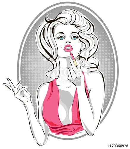 Woman applying lipstick clipart freeuse stock Pin-up fashion beautiful woman applying pink lipstick, pop ... freeuse stock