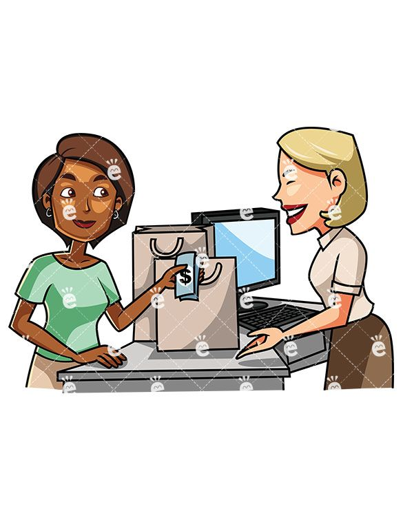 Woman at checkout clipart jpg freeuse A Black Woman Paying A Female Clerk With Cash ... jpg freeuse