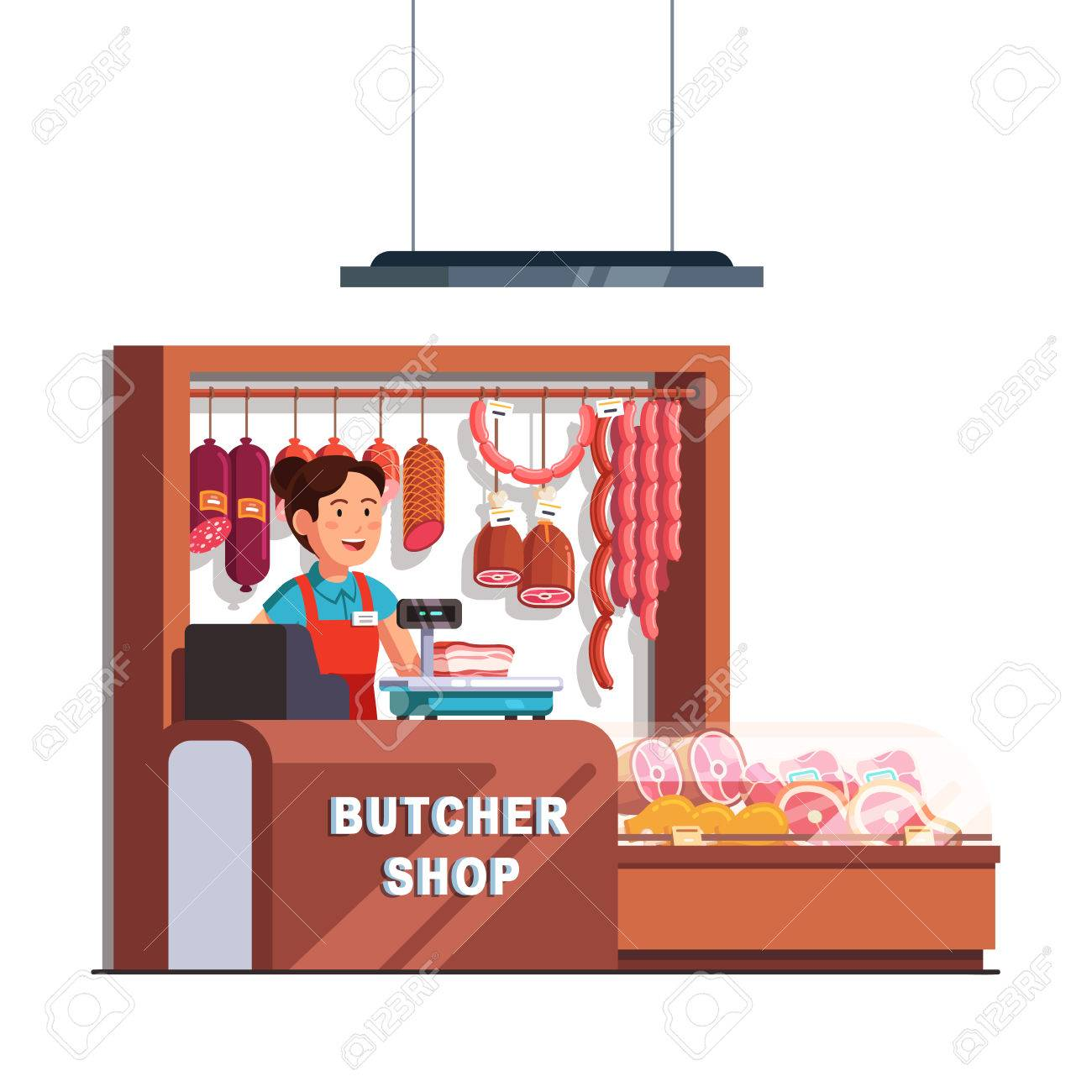 Woman at checkout clipart banner transparent stock Butcher shop owner woman at checkout counter » Clipart Station banner transparent stock