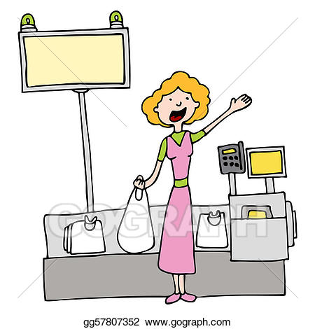 Woman at checkout clipart banner library download Vector Clipart - Self checkout grocery store register ... banner library download