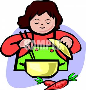Woman at counter clipart free picture royalty free A Woman Cooking with Carrots on the Counter - Royalty Free ... picture royalty free