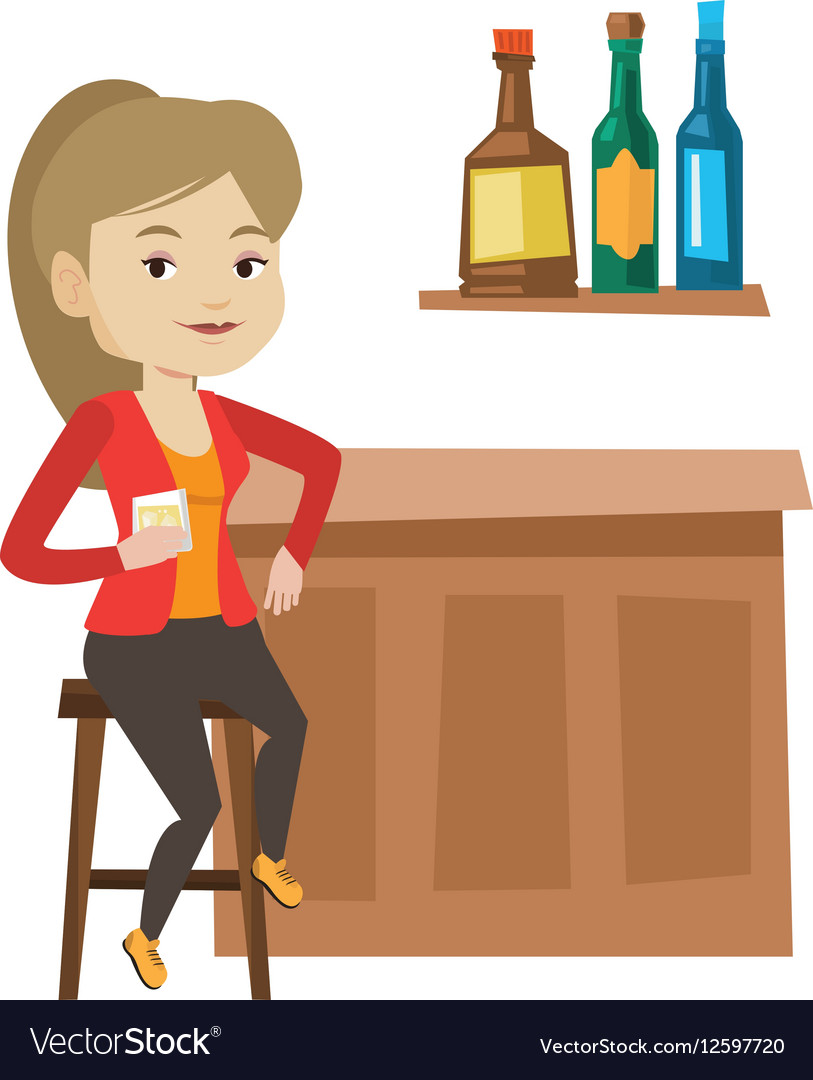 Woman at counter clipart free vector library stock Woman sitting at the bar counter vector library stock