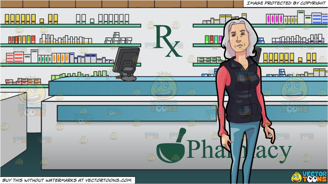 Woman at counter clipart free jpg free library An Old But Adventurous Woman and Prescription Counter Inside A Pharmacy  Background jpg free library