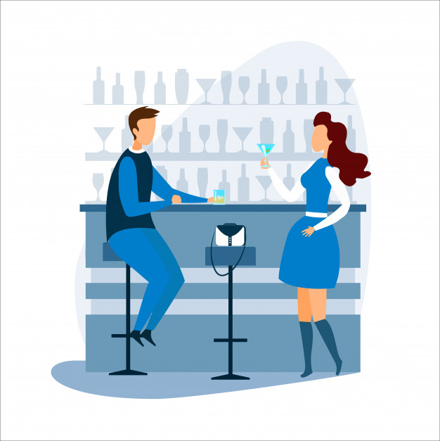 Woman at counter clipart free image download Man and woman drinking and talking at bar counter Vector ... image download