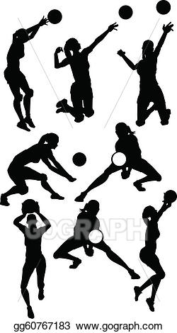 Woman athletic posing silhouette clipart clip art library stock Vector Illustration - Volleyball female silhouettes in ... clip art library stock