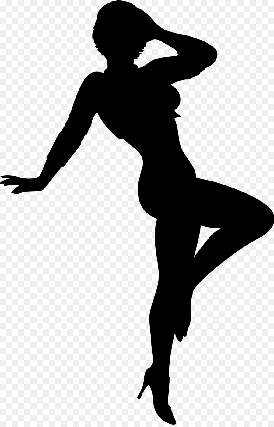 Woman athletic posing silhouette clipart jpg black and white library Woman Cartoon clipart - Woman, Silhouette, Black ... jpg black and white library