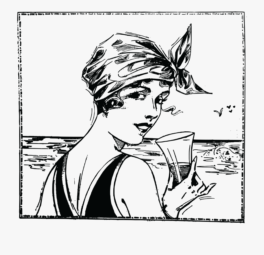 Women on the beach clipart black and white clipart royalty free stock Free Clipart Of A Vintage Woman At A Beach - Woman Looking ... clipart royalty free stock