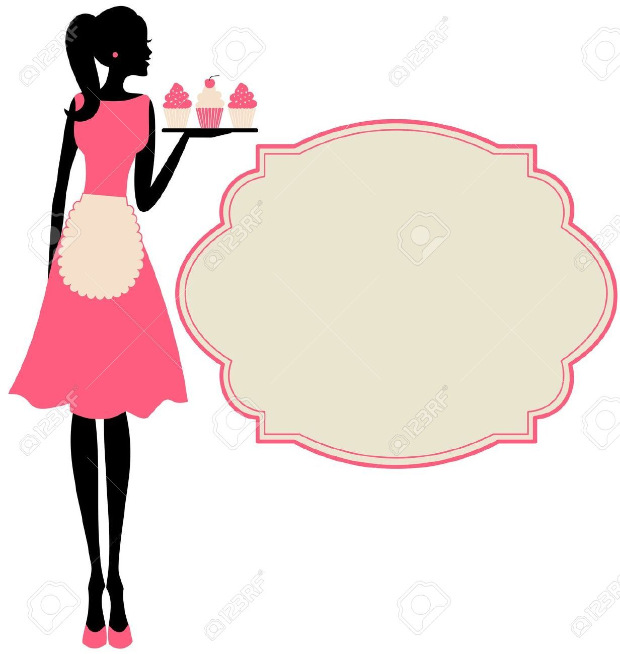 Woman baking clipart png free stock 77 Awesome vintage bakery clip art | Fonts / Stationery ... png free stock