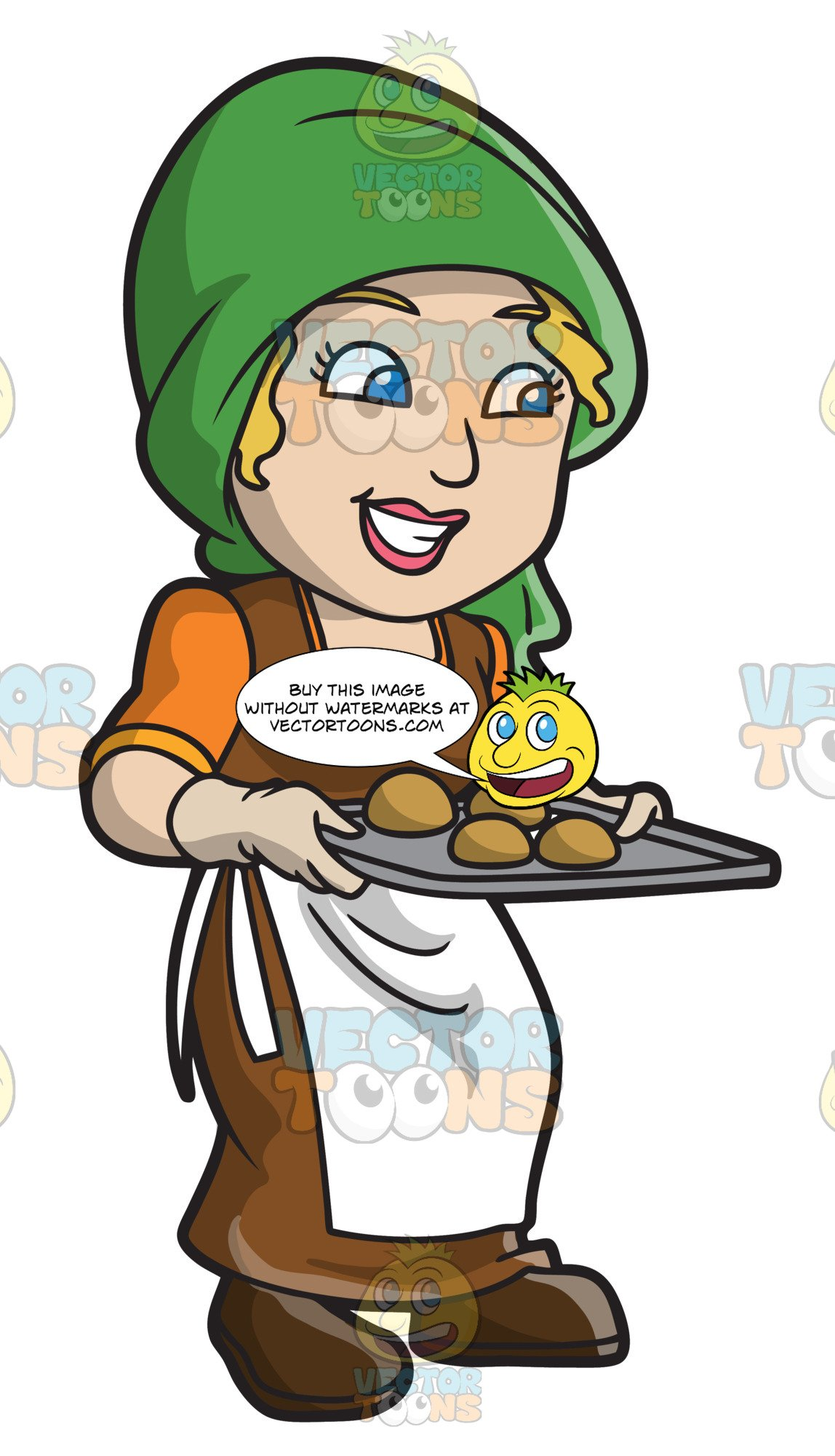 Woman baking clipart transparent download A Saxon Woman Serving Some Freshly Baked Bread transparent download
