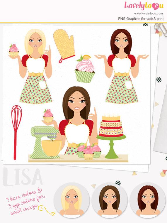 Woman baking clipart svg download Baker girl character clipart, cupcake woman clip art, baking ... svg download