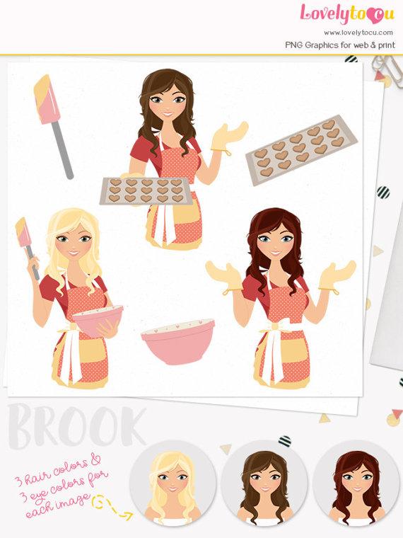 Woman baking clipart banner black and white stock Baking woman character clip art, bake heart cookies, baker ... banner black and white stock